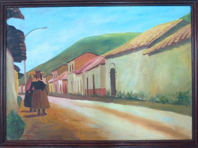 שמן על בד, רחוב בכפר פרואני חתום