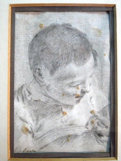רישום, ילד קורא, כתמי חלודה מקור: Christie's,  sale - Antoine 21.2.1978