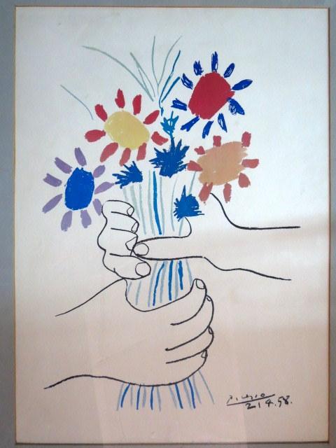 ליטוגרפיה, זר פרחים, חתום בלוח 21.4.58