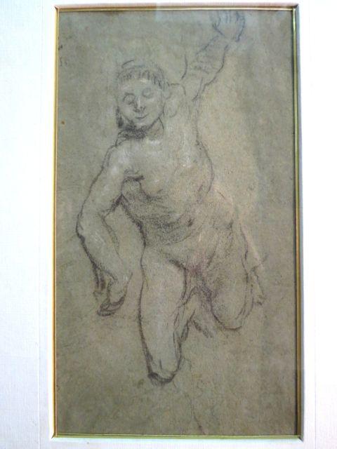 """דו צדדי: צד א רישום, עירום גבר שוכב צד שני טיוטת רישום, ידיים, נקנה ב - Christies """"דניאל"""", 11.12.1980"""