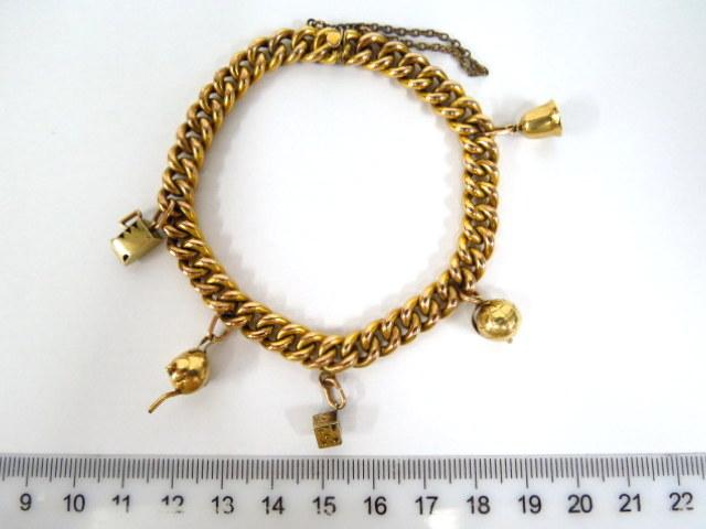 צמיד שרי-וארי, זהב 8K חוליות, עם חמישה תליונים