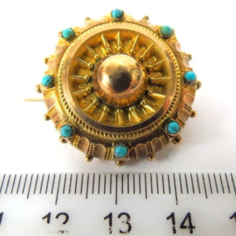 סיכה ויקטוריאנית, Rolled Gold עם שיבוץ חרוזי טורקיז קטנים