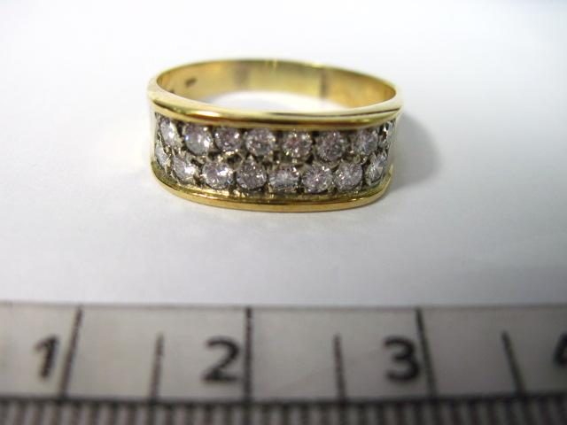 """טבעת זהב 14K משובצת ב16 יהלומים 3-4 נק' כ""""א"""