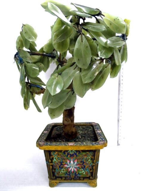 קישוט ג'ייד צורת עץ בונסאי בסיס קלוזונה צורת אגרטל