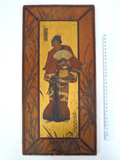 """ציור יד ע""""ג עץ, לפי מוטיב יפני עתיק שחקן, דמות סמוראי, מתוארך 1887"""