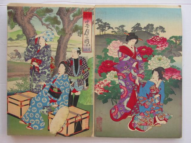 אלבום דו צדדי עם שנים עשר הדפסי עץ יפניים כל אחד על שלושה עמודים, סצינות חצר