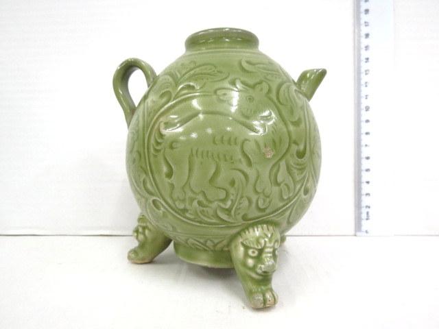 קנקן תה, קרמיקה סגנון מינג עם עבודת גילוף יד אמן