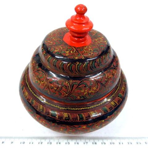קופסת פפירמשה עם ציור לקר עבודת יד אומן, רוסיה