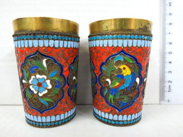 זוג כוסות כסף מוזהבות, עם עבודת קלוזונה, מוסקבה, 1894, היצרן O. Kuzlyukov, חתום