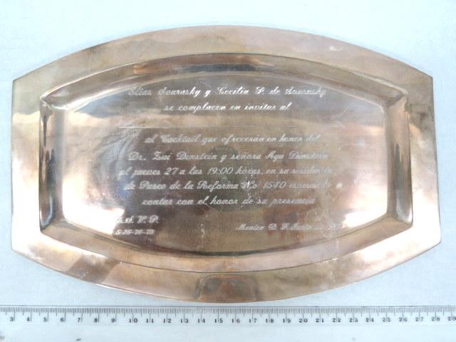 מגש קטן, כסף 925 מכסיקו עם הקדשה חרוטה,
