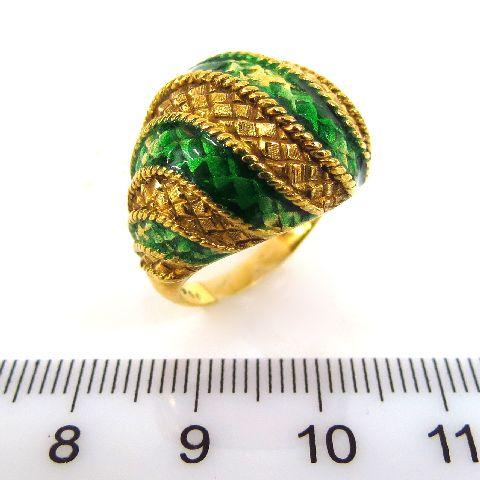 טבעת זהב 18K, דוגמה אוריינטלית עם אמייל ירוק (פגום), 7.6 גרם
