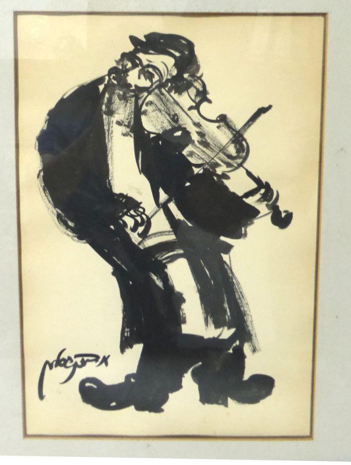 גואש שחור, נגן כינור יהודי חתום, 36X26