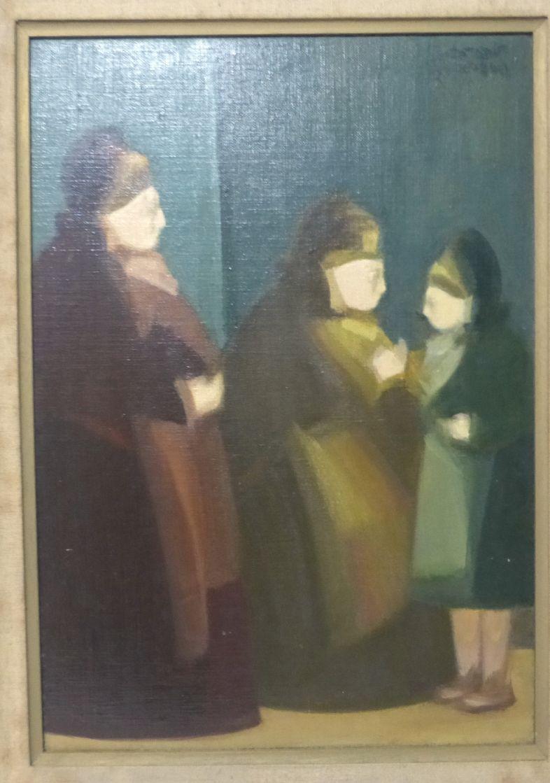 שמן על לוח, שתי נשים ונערה חתום, 46X33