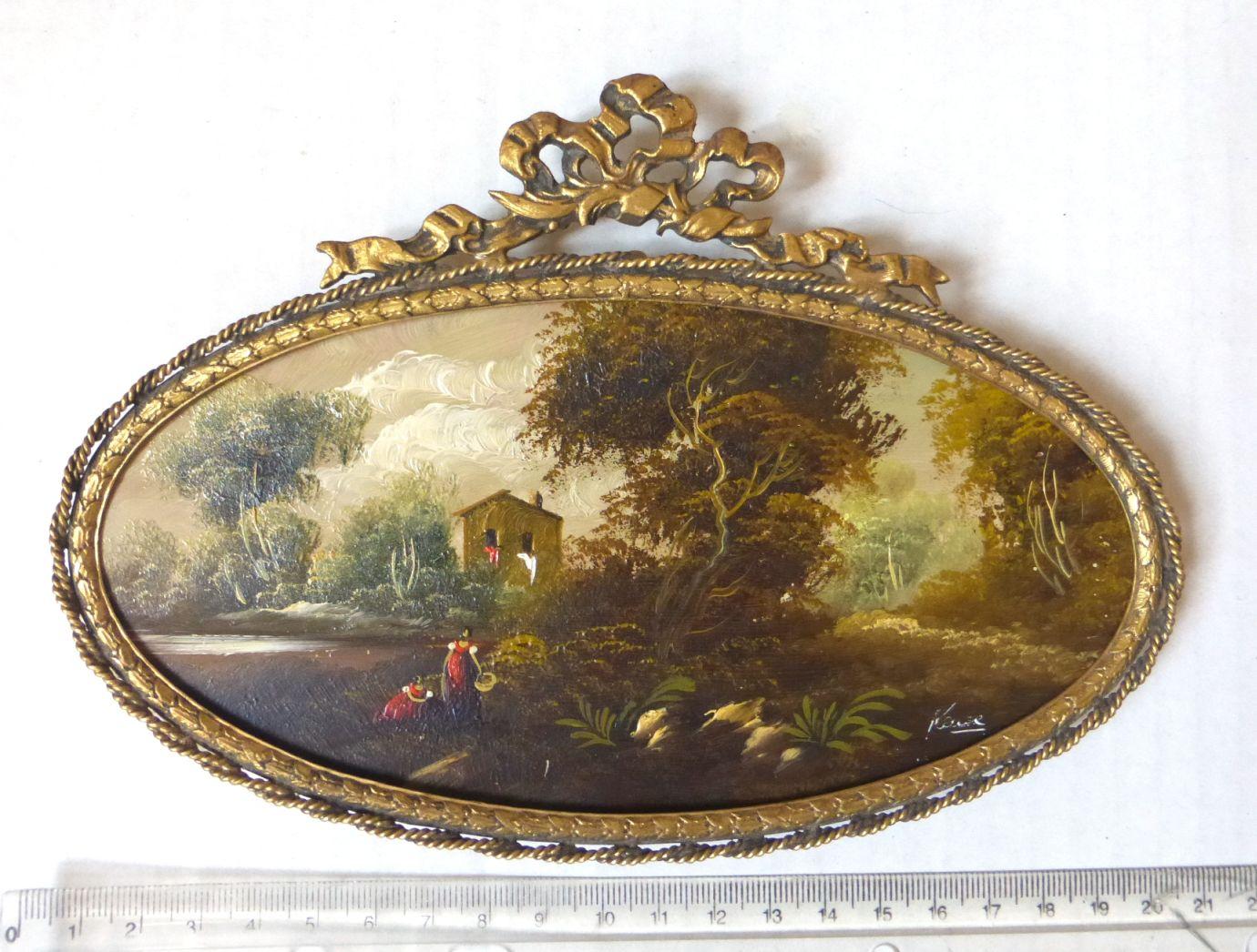 מיניאטורה מצוירת ביד, שמן על נחושת, סצינה פסטורלית, מסגרת ברונזה אובלית, 9X18