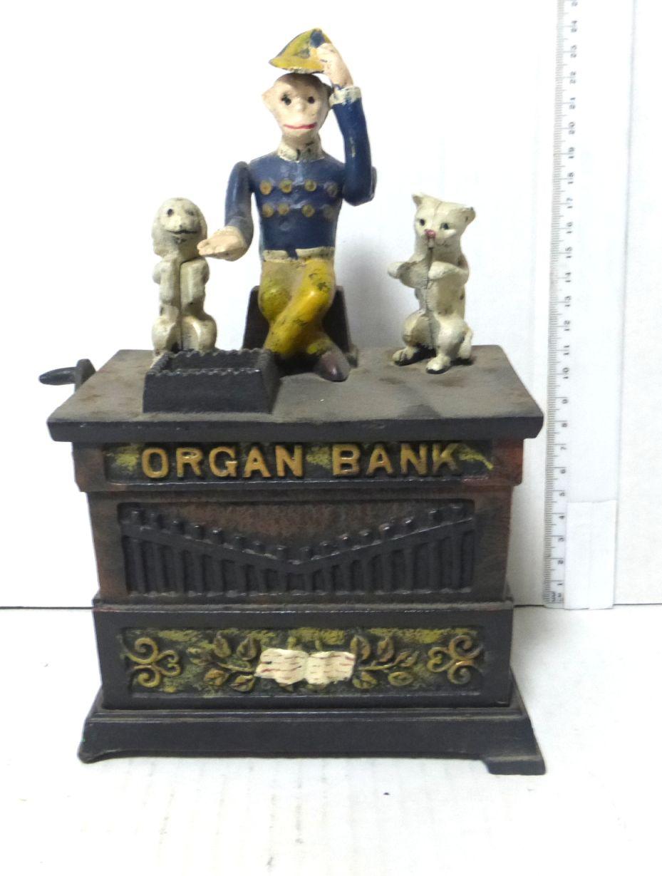 """קופת חסכון צורת משחק Organ bank ברזל יצוק, גובה 25 ס""""מ, 5X9.5 ס""""מ"""