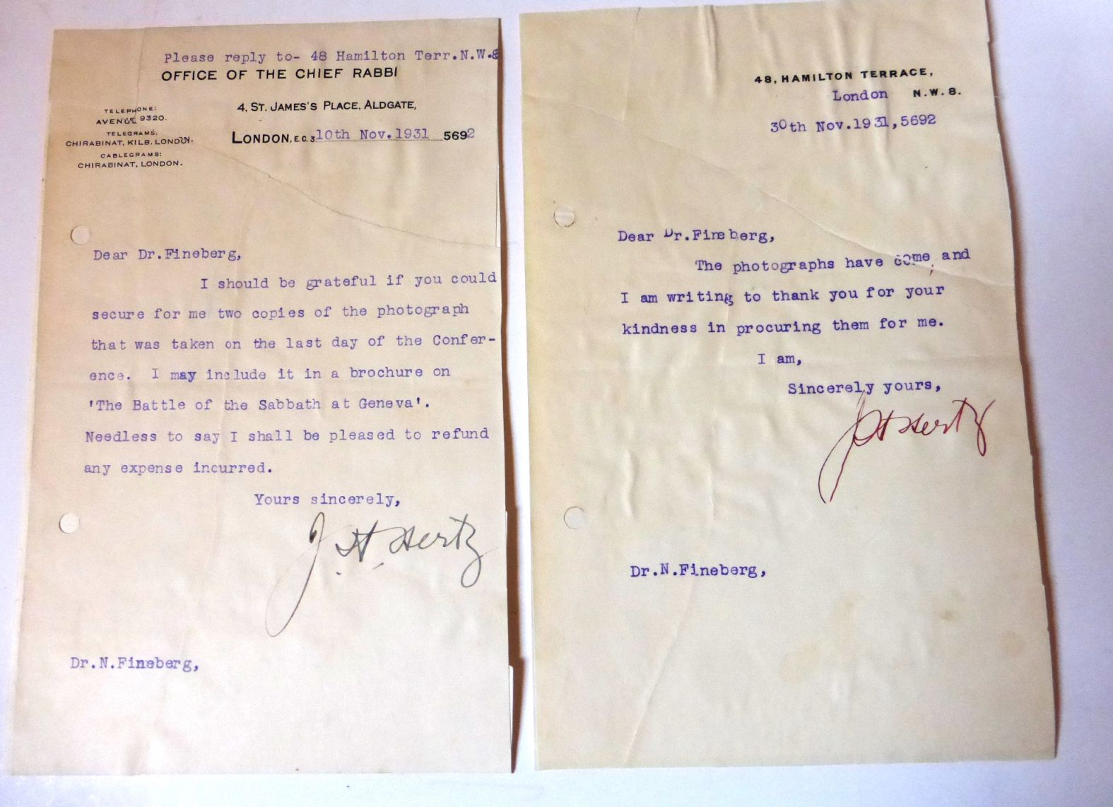 שני מכתבים מודפסים וחתומים ביד 1931